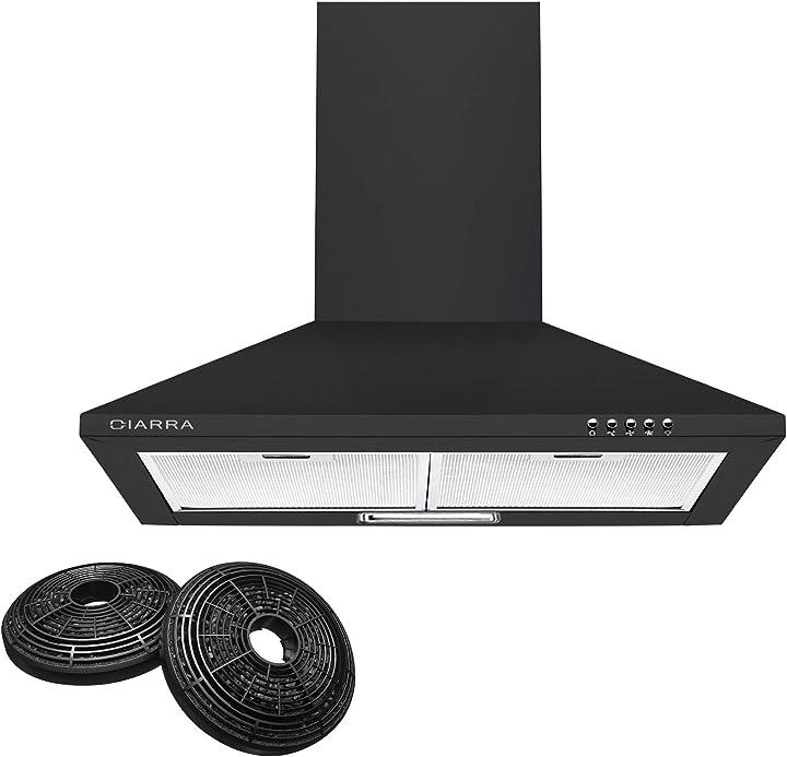 Cappa cucina aspirante 60 cm, 370 m³/h cappa da cucina in acciaio inox,3 gradini ciarra cbcb6201