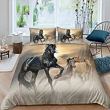 Horse Comforter Cover,Safari Animals Wildlife Bedding Set for Kids Child Boys Girls,White Horse in Sand Fantasy Fairy Tale Bedroom Bedspread Cover,Decor 3 Pcs Duvet Cover Full Size /& Zipper Ties