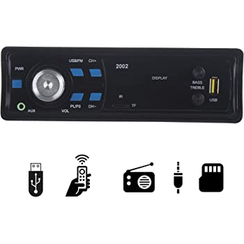 Gadget 2002 Single Din USB Fm Aux Mmc with 3.5mm Aux Cable Car Stereo System Music Player (Black)