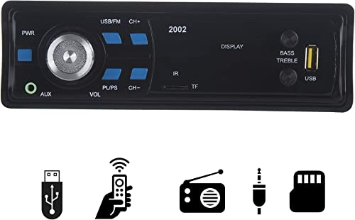 Gadget 2002 Single Din USB Fm Aux Mmc With 3 5Mm Aux Cable Car Stereo System Music Player Black