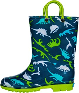 hibigo Children's Waterproof PVC Rain Boot with Handles Lightweight & Comfortable Easy for Little Kids & Toddler Boys Girls