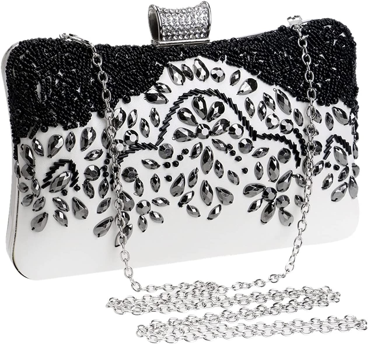 Evening Bag Leather Evening Bags Vintage Handmade Beading Party Clutch Wedding Women Black Diamonds Purse (Color : Black, Size : Small)