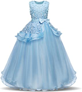 Children's Performance Dress - Lace Flower Ball Gown for Girls - Sky Blue - 6-8 Years