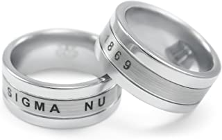 The Collegiate Standard Sigma Nu Fraternity Tungsten Ring with Founding Date and Crest