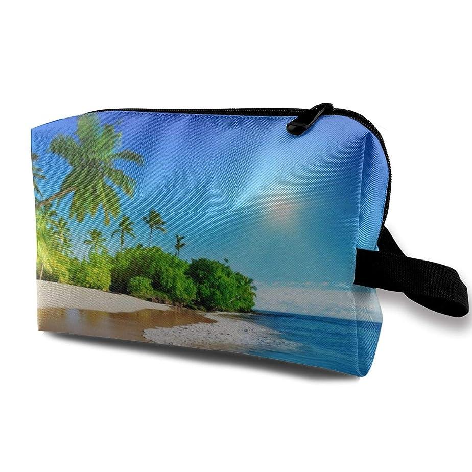 ロイヤリティ絶え間ない切り下げBeach Palms Trees Blue Ocean Landscape.jpeg 収納ポーチ 化粧ポーチ 大容量 軽量 耐久性 ハンドル付持ち運び便利。入れ 自宅?出張?旅行?アウトドア撮影などに対応。メンズ レディース トラベルグッズ