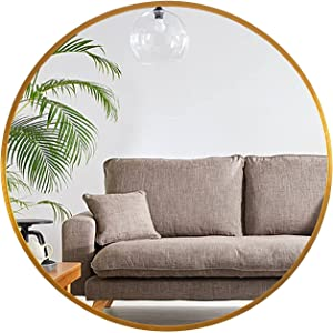 MIRUO Round Mirror 32 inch Circle Mirrors for Wall Mounted Decorative for Bathroom, Bedroom, Entryway Décor, Aluminum Alloy Thin Frame (32'', Gold)