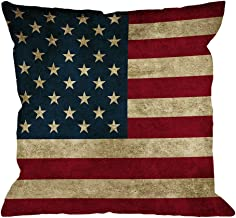 God Bless America Flag Pillow Case Cover 14 inch Square American Red White Blue