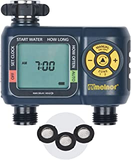Melnor 65035-AMZ AquaTimer 2-Zone Digital Water Timer with 3 Stainless Steel Filter Washers Set, Amazon Bundle