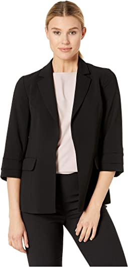 3/4 Sleeve Moss Crepe Tailored Blazer