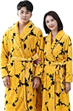 Winter Couple Bathrobe Mid-length Yellow Printed Flannel Dressing Gown for Men and Women(Size:Women-XL + Men-3XL)