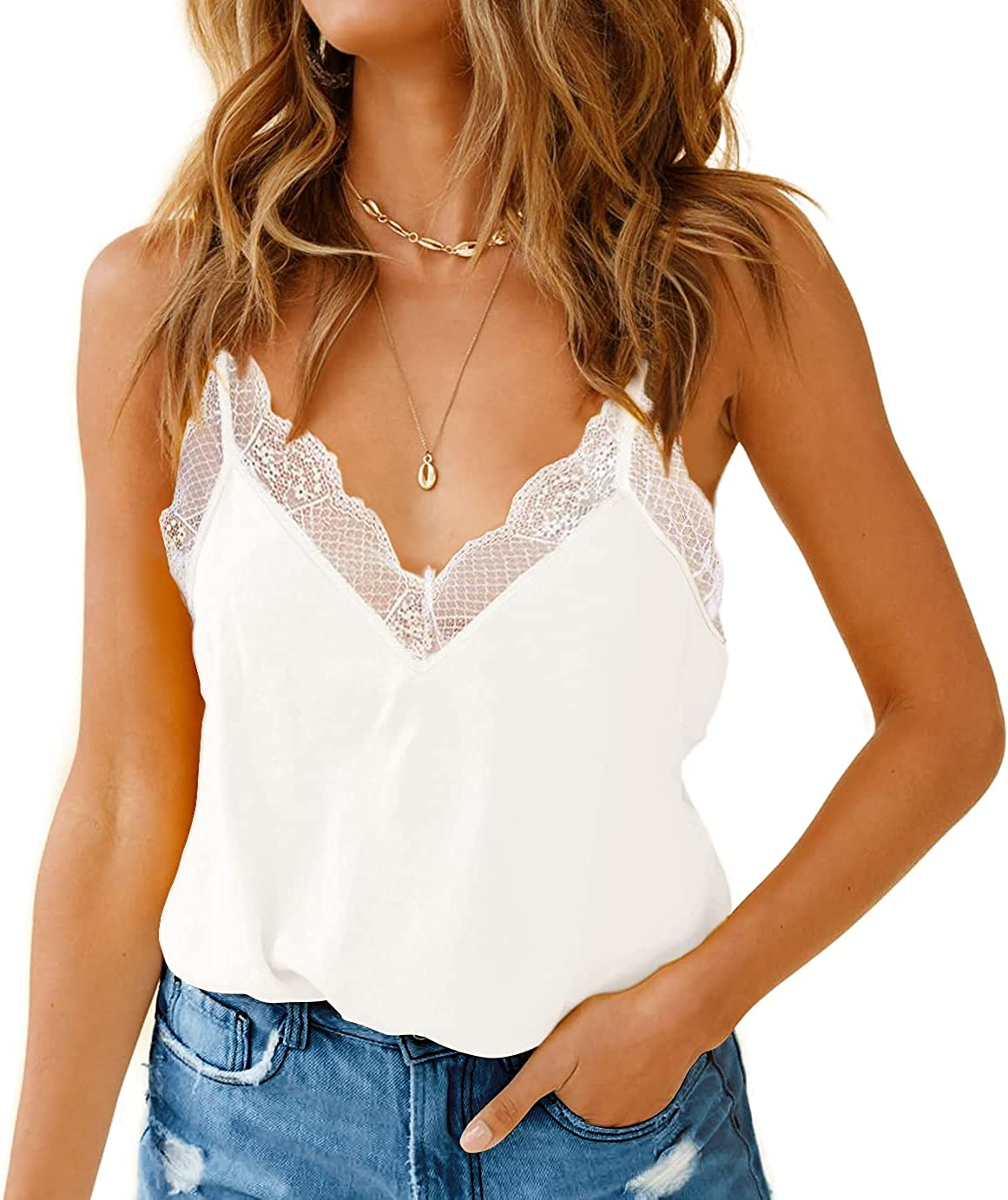 Risesun Women's V Neck Lace Trim Summer Sexy Camisole Loose Fit Halter Tank Tops