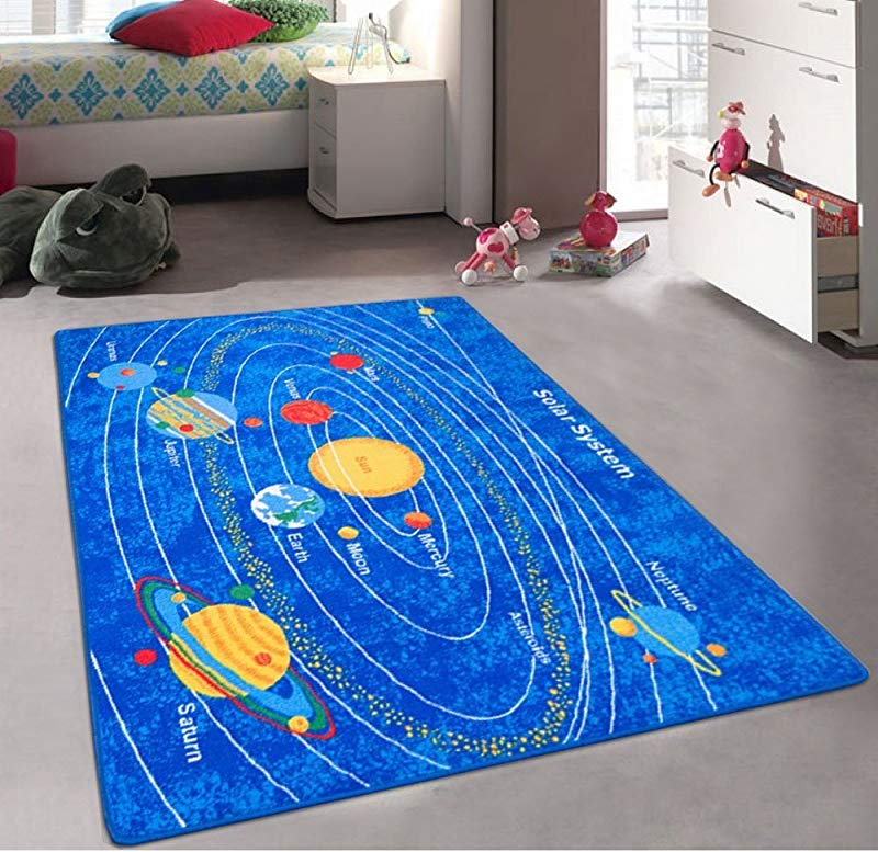 Kids Baby Room Daycare Classroom Playroom Area Rug Solar System Educational Non Slip Gel Back Play Mat Bright Colorful Vibrant Colors 5 Feet X 7 Feet