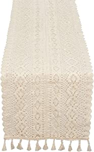 GgdGoluxu Macrame Creamy-White Table Runner Party Table Decorations Romantic Bohemian Wedding Dining Table Decor Home Restaurant Table Runner Crochet Cotton Lace Table Runner 9.8 X 94.5 Inch