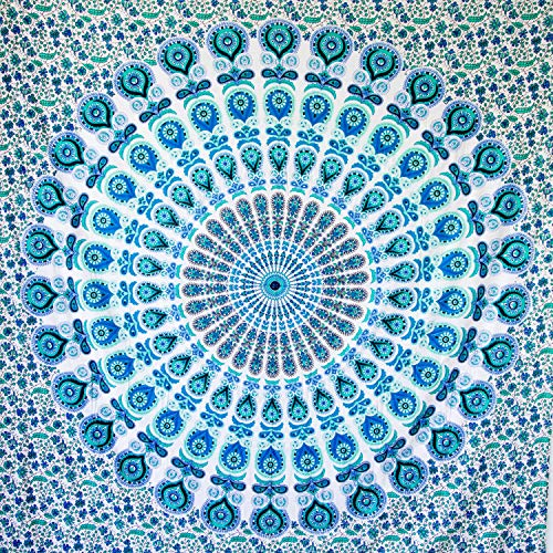 MOMOMUS Tapiz Mandala Bohemio - 100% Algodón, Grande, Multiuso - Tapices de Pared para Decoración (Azul-Verde B, 210x230 cm)