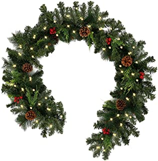 1.8M Christmas Garlands Decorations for Stairs Fireplaces Decorated Garland Artificial Wreath Garland with Cones, Red Berr...