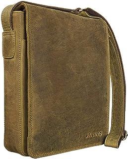 """STILORD Joris"""" Umhängetasche Leder mittelgroß Vintage Messenger Bag für 10,1 Zoll Tablets für iPad Schultertasche Herren Damen Rindsleder, Farbe:mittel - braun"""