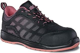 Botas de Trabajo Ligeras, de Piel, Transpirables, con Puntera de Acero, para Mujer, Ella Iris Black and Pink Leather Safety Boots S1P, Sra
