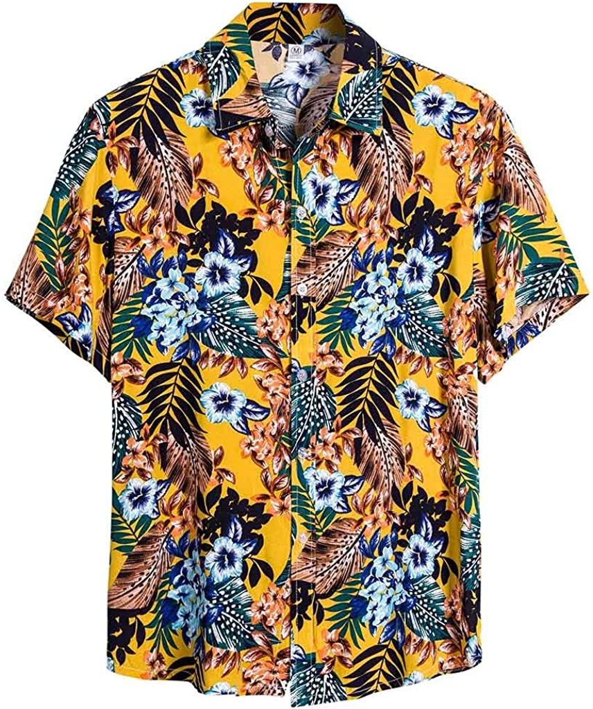 Misaky Men's Ethnic Floral Hawaiian Shirts Summer Tropical Cotton Short Sleeve Button DownTshirt for Holiday