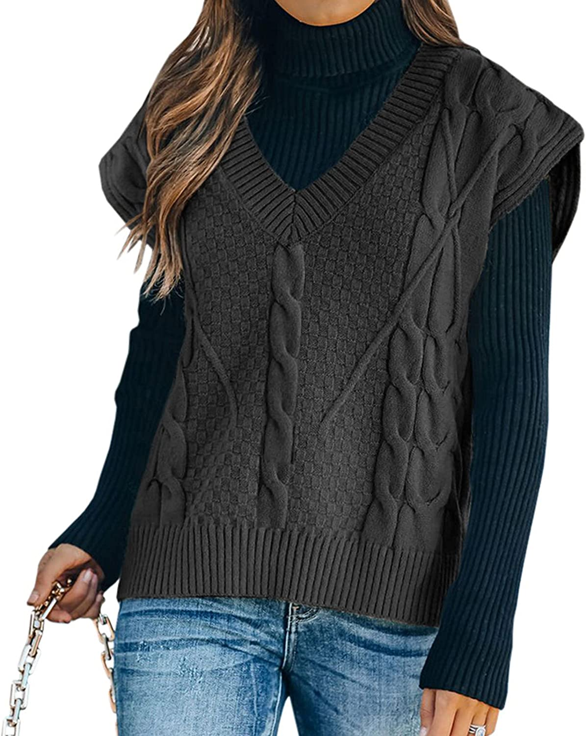 BOXIACEY Women's V-Neck Solid Tunic Tops Casual Loose Knitted Sweater Fashion Sleeveless Jacket Pullover
