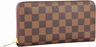 Miracle Checkered Zipper Around Wallet | RFID Blocking | with Phone Clutch/Card Holder/Cash Organizer for Men Women | Blended Cowhide Leather (brown)