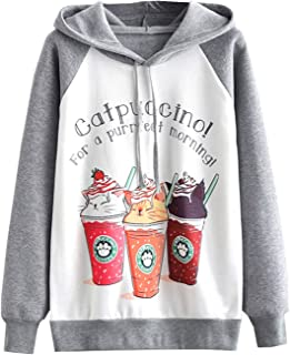 Arjungo Women`s Graphic Fleece Hoodies Kawaii Animal Printed Long Sleeves Raglan Sweatshirt Tops