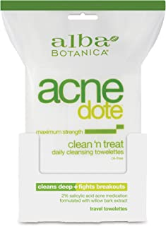 Alba Botanica Acnedote Maximum Strength Clean 'N Treat Daily Cleansing Towelettes, 30 Count