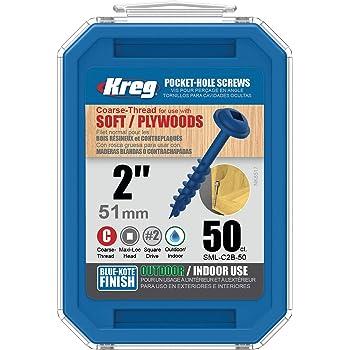 "Kreg SML-C2B-50 Blue-Kote, Weather-Resistant Pocket Screws, 2"" #8 Coarse-Thread, Washer-Head (50 Count)"