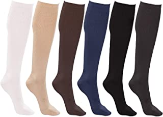 Plus Size Women's Trouser Socks, 6 Pairs, Opaque Stretchy Durable Nylon Knee High, Queen Size