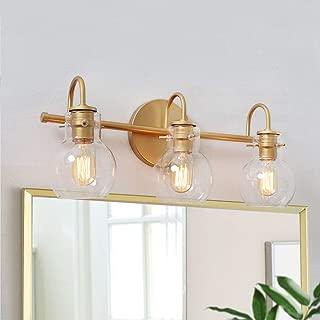 """KSANA Bathroom Light Fixtures, Gold Bathroom Vanity Light Fixtures with Clear Glass Shade, 22""""x7""""x9"""""""