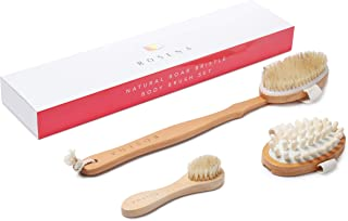Dry Brushing Body Brush Set - Best for Cellulite, Lymphatic Drainage & Skin Exfoliating - Natural Bristle Spa Kit - Long Handle Back Scrubber, Massager & Face Exfoliator for Radiant Skin