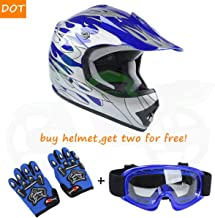 TCT-MT DOT Helmet W/Goggles Gloves Youth Kids Motocross Helmet Blue Silver Flame Dirt Bike ATV Off-Road Motorbike Child Helmet+Gloves+ Goggles (X-Large)