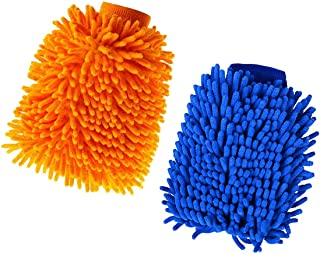 2 STKS Microfiber Car Wash Mitt, Auto Care Microvezel Drooghanddoek, Super Absorberende Microvezel Noodle Handschoenen Aut...