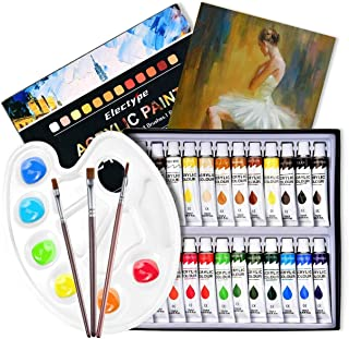 Acrylic Paint Set 24 Colors with 3 brushes, 1 Palette, 1 Canvas, Perfect for Canvas, Wood, Ceramic, Fabric, Non Toxic & Ri...