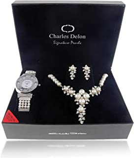 Charles Delon Women's Metal Watch & Jewelry Set - 5705 LIMB
