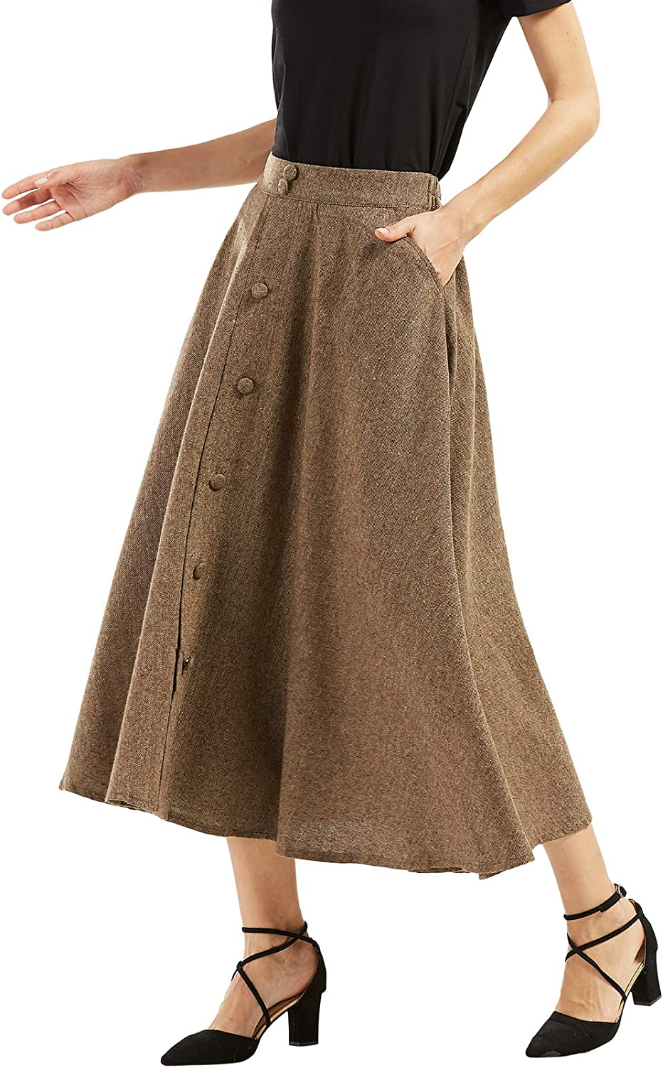 Edwardian Skirts History – 1900 – 1910s chouyatou Womans Vintage High Waist Front Button Long Skirt with Pockets  AT vintagedancer.com