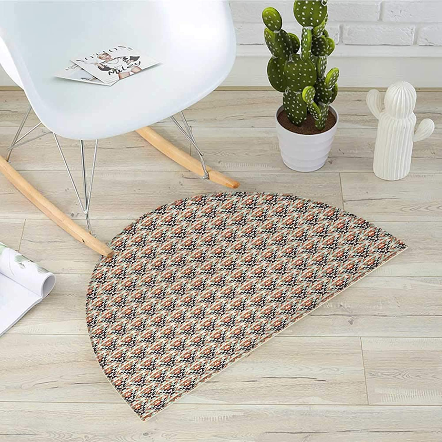 Retro Semicircle Doormat Old Fashioned Style Abstract Pattern with Mosaic of Triangles Geometrical Illusion Halfmoon doormats H 39.3  xD 59  Multicolor