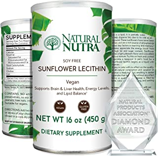 Sponsored Ad - Natural Nutra Sunflower Lecithin Powder, Soy Free with Inositol, Omega 3-6 and Choline, 16 oz Vegan Supplement
