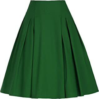GRACE KARIN Women Vintage Pleated A Line Flare Skirt with Pockets CL8925