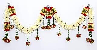 Womencrafts Indian Decorative White Flower Strings Toran Handmade Flower Garland Door Hanging