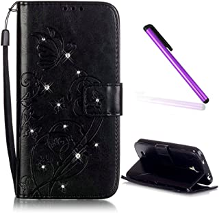 Samsung Galaxy I9190 Case EMAXELER Stylish Wallet Case Kickstand Flip Case Credit Cards Slot Cash Pockets PU Leather Flip Wallet Case with Stand For Samsung Galaxy S4 Mini Butterfly Black