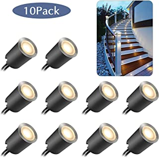 Recessed LED Deck Light Kits with Protecting Shellf32mm,10Pack SMY In Ground Outdoor LED Landscape Lighting IP67 Waterproof, 12V Low Voltage for Garden,Yard Steps,Stair,Patio,Floor,Kitchen Decoration