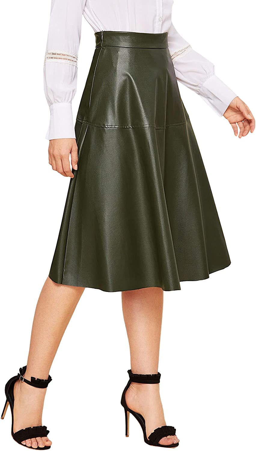 WDIRARA Women's Vintage High Waist Flared Skirt Midi PU Skirt