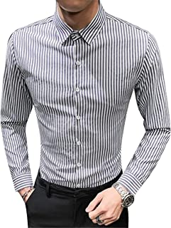 FRPE Men Long Sleeve Slim Stripe Business Casual Button Down Blouse Tops