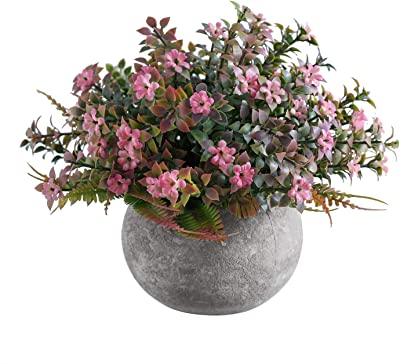 Artificial Plants Potted Faux Artificial Flowers with Pots in Pink for Home Floating Shelves Table Decor