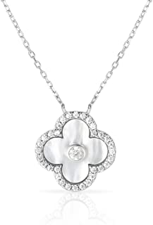 Solid 925 Sterling Silver Cubic Zirconia Four Leaf Clover Pendant and Adjustable Length Necklace 16