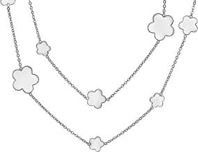 Flower Long Station Tin Cup Chain Wrap Layer Black Enamel Clover Necklace for Women Silver Or Gold Plated Brass 40 Inch