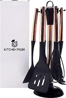 KITCHEN TIGER Ustensiles de cuisine 7 pièces (or rose) | Ustensiles de cuisine robustes et résistants à la chaleur | Set d...