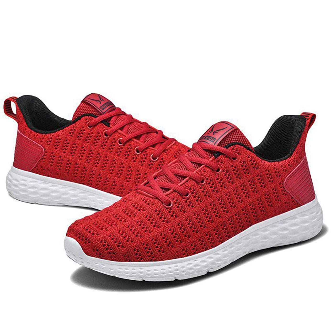 Couple Mesh Sports Shoes,Mosunx Athletic Women Hollow Breathable Ultra Lightweight Lace Up Sneakers Indoor Outdoor Gym Trail Solid Casual Running Shoes (8.5 M US, Red)