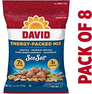 DAVID Seeds Sea Salt Energy-Packed Mix for Snacking, 5 Oz. (Pack Of 8)