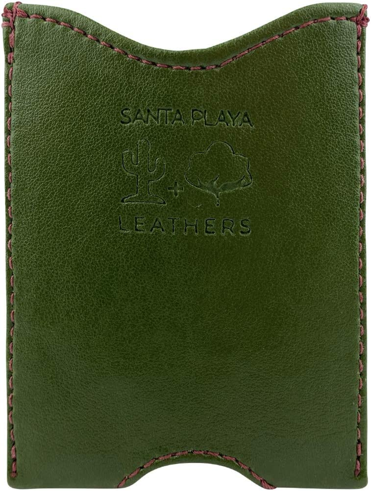 Santa Playa, Fruit & Vegetable Vegan Leather Front Pocket Wallet Made from Eco Friendly Cactus Leather & Artisan Canvas – Small Slim Lightweight Minimalist Credit Cards, Cash, Money Holder – Nopal Green